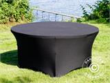 Stretch table cover, Ø152x74cm, Black - 7