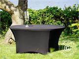 Stretch table cover, Ø152x74cm, Black - 12