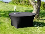 Stretch table cover, Ø152x74cm, Black - 14