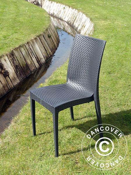 Chair Rattan Bistrot Anthracite 6 Pcs Dancovershop Uk