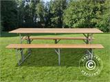 Beer Table Set, 180x60x76cm, Light wood - 1