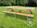Beer Table Set, 180x60x76cm, Light wood - 4