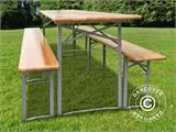 Beer Table Set, 180x60x76cm, Light wood - 6