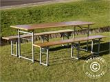 Beer Table Set, 220x60x76cm, Light wood - 1