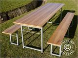 Beer Table Set, 220x60x76cm, Light wood - 2