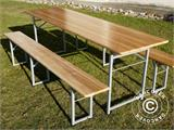 Beer Table Set, 220x60x76cm, Light wood - 3