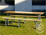 Beer Table Set, 220x60x76cm, Light wood - 4