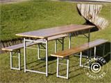 Beer Table Set, 220x60x76cm, Light wood - 6