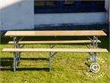 Beer Table Set, 220x60x76cm, Light wood - 7
