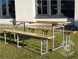 Beer Table Set, 220x60x76cm, Light wood - 8