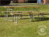 Beer Table Set, 220x60x76cm, Light wood - 9
