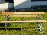 Beer Table Set, 220x60x76cm, Light wood - 10