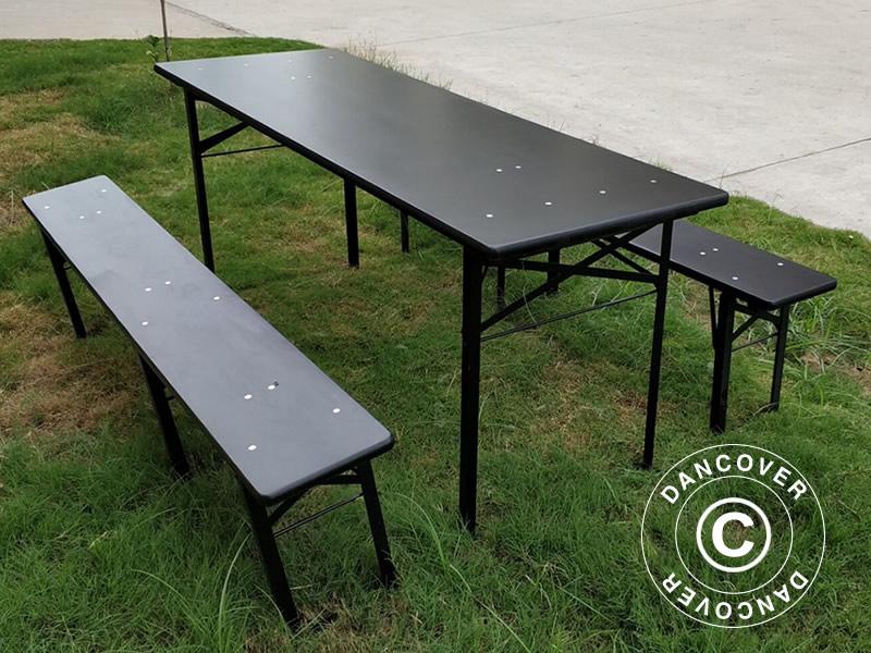 ensemble table et chaises de brasserie 220x60x76cm noir dancovershop fr. Black Bedroom Furniture Sets. Home Design Ideas