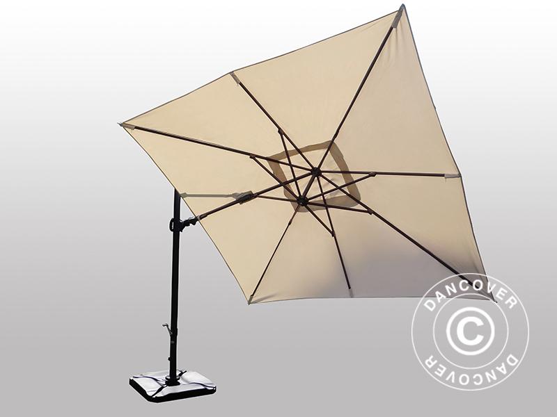 parasol cantilever roma square 3x3 m w double tilt sand. Black Bedroom Furniture Sets. Home Design Ideas
