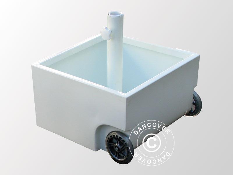Base in acciaio per ombrellone con ruote  m bianca